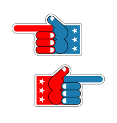 Foam finger usa patriot american hand symbol vector