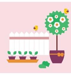 Garden scene in flat style vector image vector image