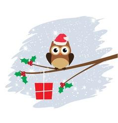 owl santa hat card snow vector image
