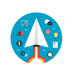 paper plane startup imagination vector image vector image