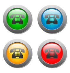 Phone icon glass button set vector image vector image