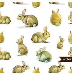 Rabbit hare pattern watercolor vector