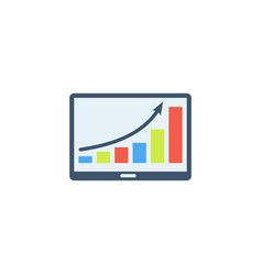 tablet with growth chart icon vector image vector image