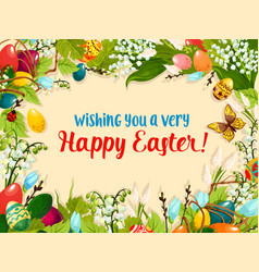 easter egg and flower greeting card design vector image vector image