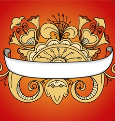 Fantastic style ornamented banner on red vector image