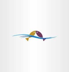 fish in water logo sign design element vector image vector image