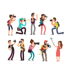 funny professional photographer with camera taking vector image vector image