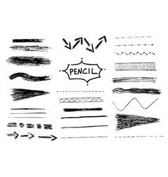 Pencil stroke set Sketch design vector image