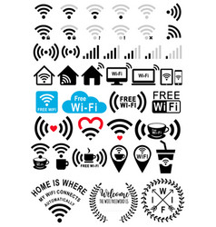 wi-fi signs set vector image