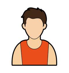 young man wearing sleeveless top faceless avata vector image vector image