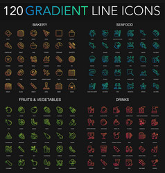 120 trendy gradient style thin line icons set of vector