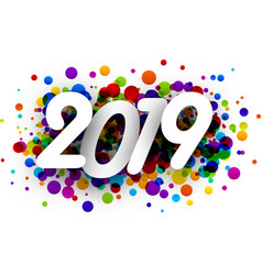 2019 new year background with colorful drops vector image