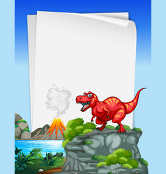 a dinosaur banner template in nature scene vector image
