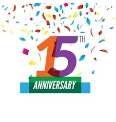 Anniversary design 15th icon vector