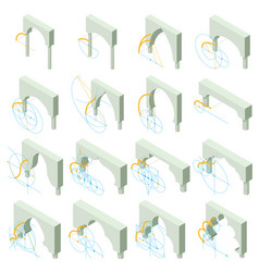 arch types icons set isometric style vector image