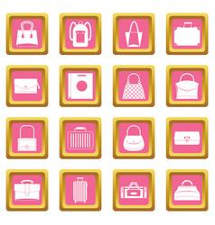bag baggage suitcase icons pink vector image