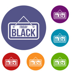 black friday signboard icons set vector image