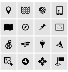black map icon set vector image