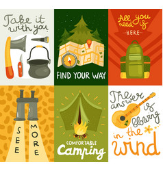 camping equipment cards vector image
