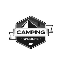 camping wildlife badge mountain adventure emblem vector image