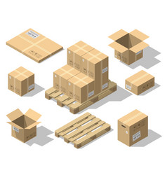 Cardboard boxes and wood pallet isometric set vector
