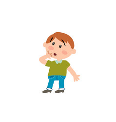 Cartoon character boy in surprise vector