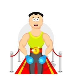 Cartoon flat champion boxing sport vector