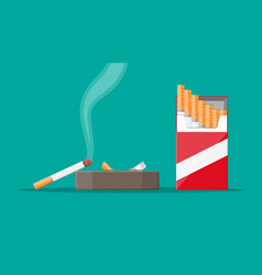 ceramic ashtray full smokes cigarettes vector image
