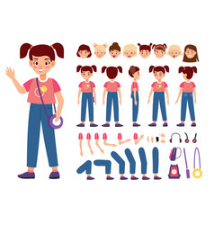 Child constructor happy girl with additional body vector