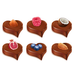 Chococolate candy heart with different fruits vector