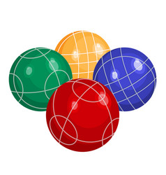 Colorful bocce balls made metal or plastic vector