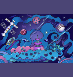 colorful cartoon outer space design vector image