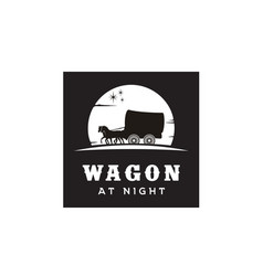 cowboy cart covered wagon western at night logo vector image