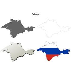 Crimea outline map set - Russian version vector