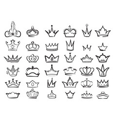 Crown doodles imperial king diadem regal symbols vector