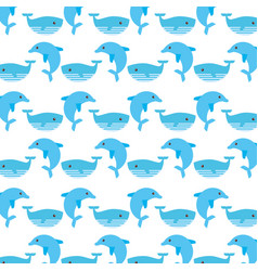 cute whaleand dolphin pattern vector image