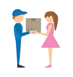 delivery man handing box girl vector image