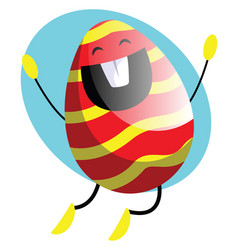 easter egg jumping from happiness web on a white vector image
