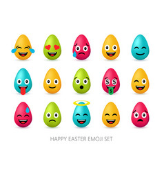 Easter eggs emoji set cute funny emotional icons vector