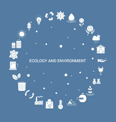 ecology and enviroment icon set infographic vector image