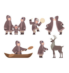 eskimo characters traditional ethnic authentic vector image