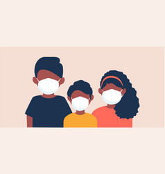 family wearing protective medical face masks vector image
