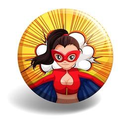 Female superhero on round badge vector image