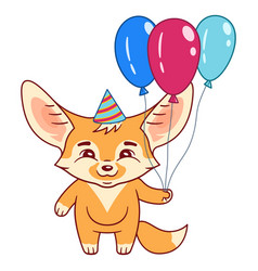 fennec fox in a party hat holds air-balloons vector image