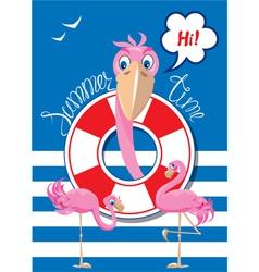 Flamingo card 1 380 vector