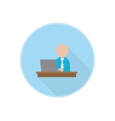 flat icon with office worker sitting at vector image