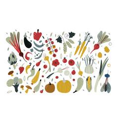 Fresh vegetables set vegetarian food hand drawn vector