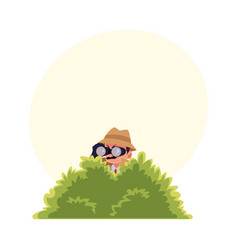 funny detective character looking through vector image