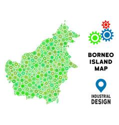 Gears borneo island map composition vector