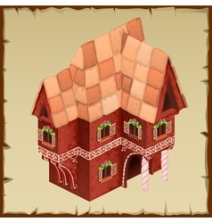 Gingerbread house closeup top view vector